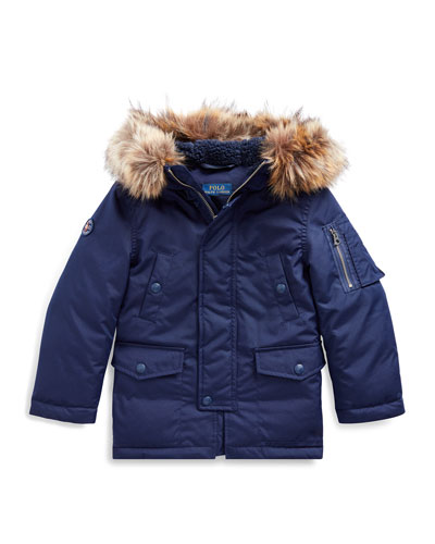 Boy's Military Parka Jacket w/ Faux Fur Trim, Size 5-7