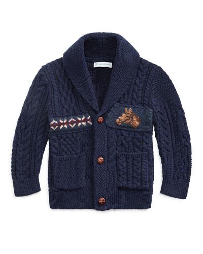 Boy's Merino Wool Blend Patchwork Shawl Cardigan, Size 6-24 Months