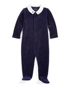 Ralph Lauren Childrenswear Boy's Velour Footed Coverall, Size