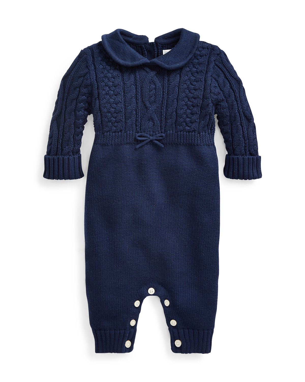 Ralph Lauren Childrenswear Kids' Cable-knit Cotton Coverall, Blue