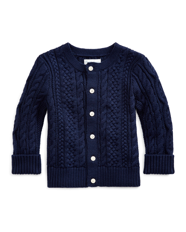 Ralph Lauren Childrenswear Kids' Cotton Cable-knit Cardigan, 6-24 Months In Blue