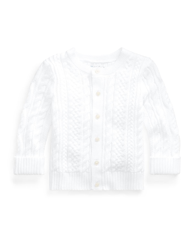 Ralph Lauren Childrenswear Kids' Cotton Cable-knit Cardigan, 6-24 Months In White