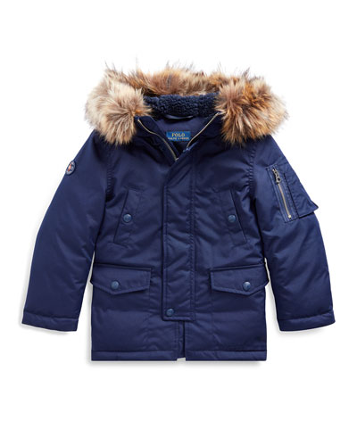 Boy's Military Parka Jacket w/ Faux Fur Trim, Size 2-4