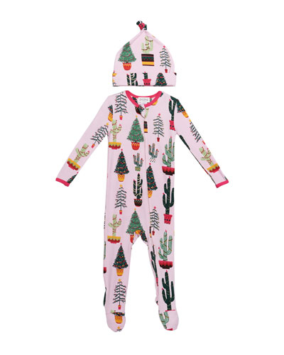 Girl's Christmas Cactus-Print Footie Pajamas w/ Matching Hat, Size 3-24 Months