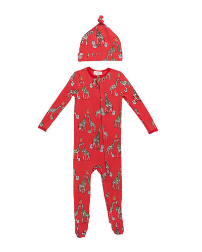 Girl's Holiday Giraffe-Print Footie Pajamas w/ Matching Hat, Size 3-24 Months