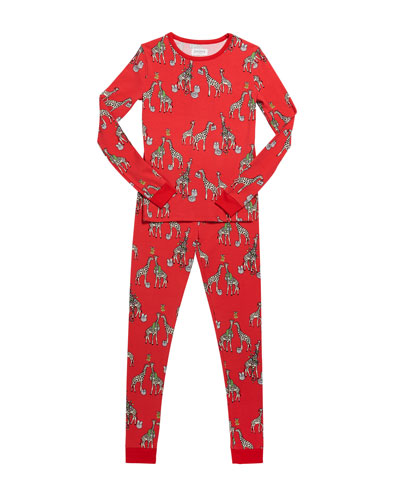 Girl's Holiday Giraffe-Print Pajama Set, Size 10-14