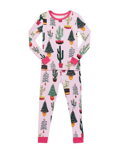 Girl's Christmas Cactus-Print Pajama Set, Size 2-8