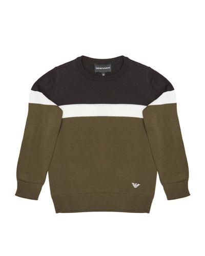 Boy's Colorblock Knit Sweater, Size 4-16