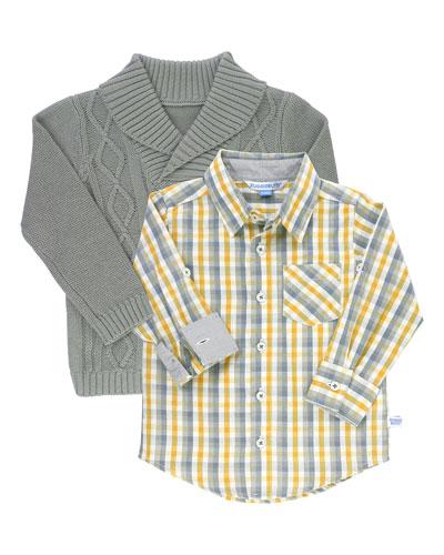 Boy's Parker Plaid Shirt w/ Cable Knit Shawl Sweater, Size 3-24 Months
