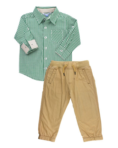 Boy's Gingham Shirt w/ Khaki Chino Pants, Size 3-24 Months