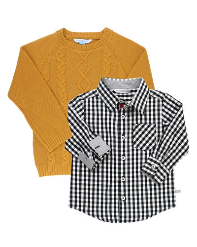 Boy's Gingham Shirt w/ Knit Sweater, Size 3-24 Months