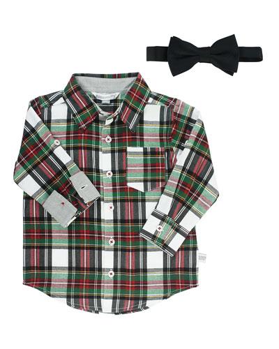 Boy's Juniper Plaid Shirt w/ Bow Tie, Size 3-24 Months