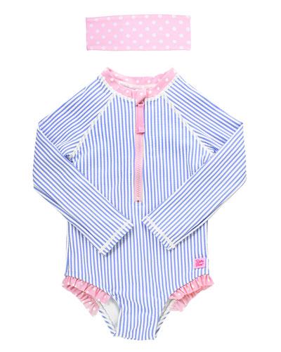 Girl's Striped One-Piece Rash Guard Swimsuit w/ Headband, Size 2T-8