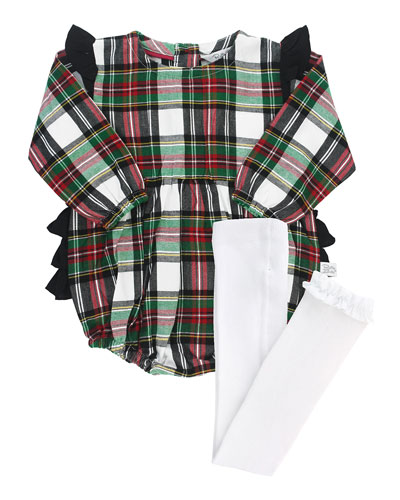 Girl's Plaid Ruffle Romper w/ Knit Tights, Size 0-24 Months