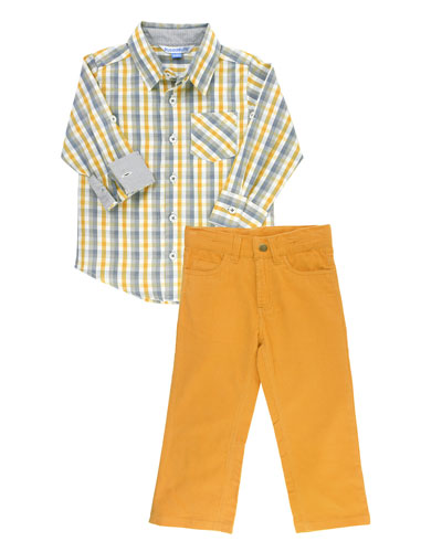 Boy's Parker Plaid Shirt w/ Corduroy Pants, Size 3-24 Months