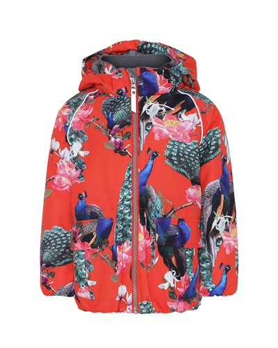 Girl's Cathy Peacock Print Functional Waterproof Jacket, Size 4-6