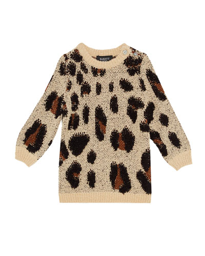 Girl's Eryn Animal Knit Sweater Dress, Size 7-18