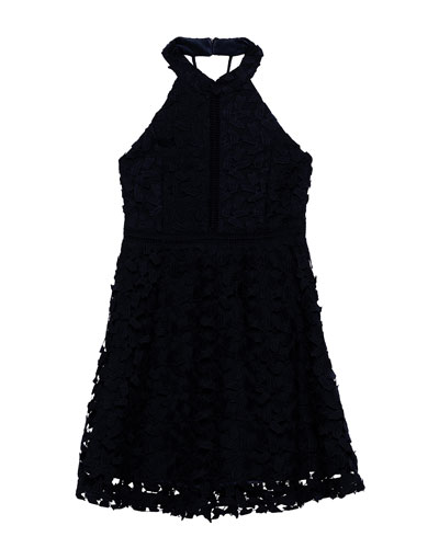 Girl's Gemma Floral Lace Halter Dress, Size 7-18