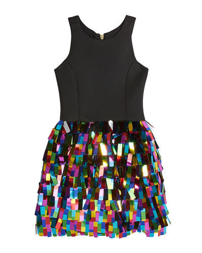 Girl's Halter Dress w/ Multicolor Rectangular Paillettes Skirt, Size 7-16