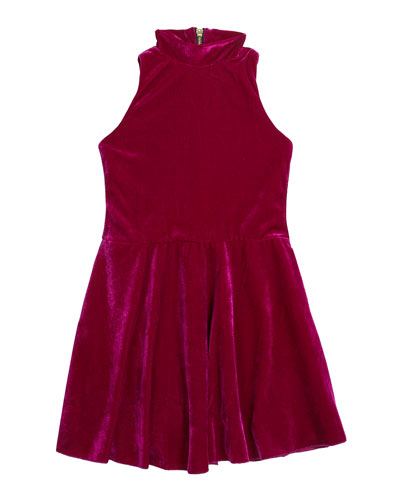 Girl's Nicole Velvet Halter-Neck Swing Dress, Size 7-16