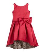 Zoe Girl's Sleeveless High-Low Sateen Dress w/ Leopard