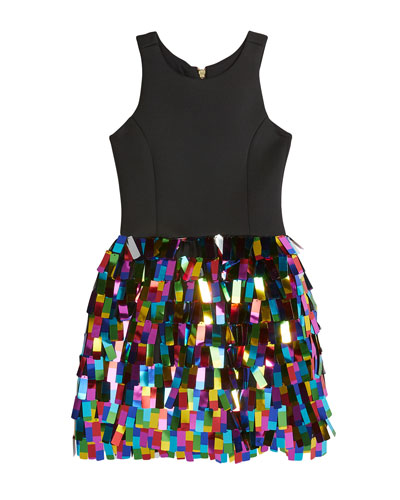 Girl's Halter Dress w/ Multicolor Rectangular Paillettes Skirt, Size 4-6X