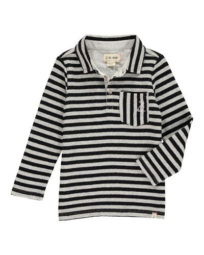 Boy's Striped Long-Sleeve Polo Shirt w/ Children's Book, Size 2T-10