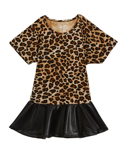 Girl's Leopard Faux Leather Peplum Top, Size S-XL