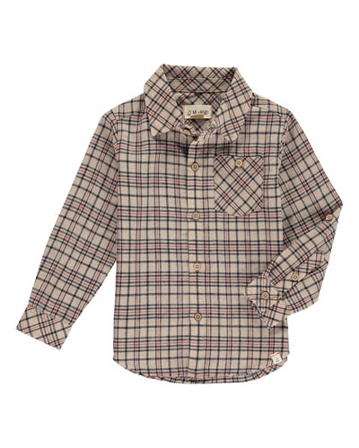 Boy's Woven Plaid Long-Sleeve Shirt w/ Children's Book, Size 2T-10