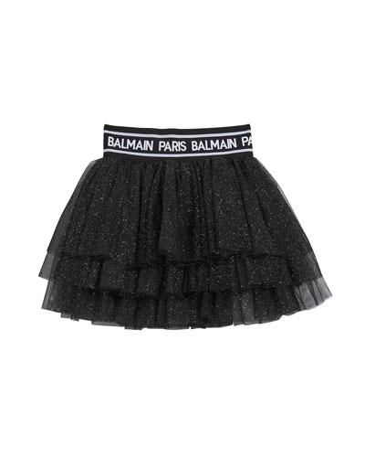 Girl's Glitter Layered Tulle Skirt, Size 4-10