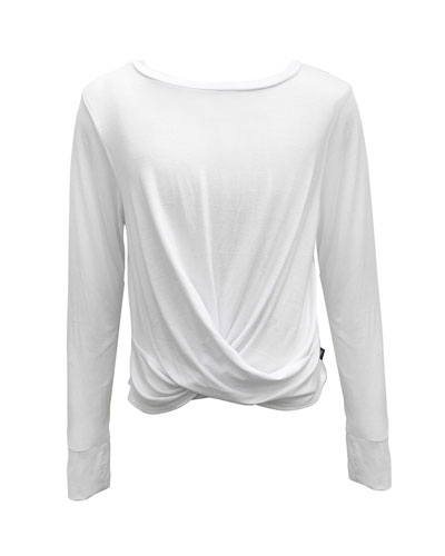 Girl's Twist Front Long-Sleeve Tee, Size 7-16