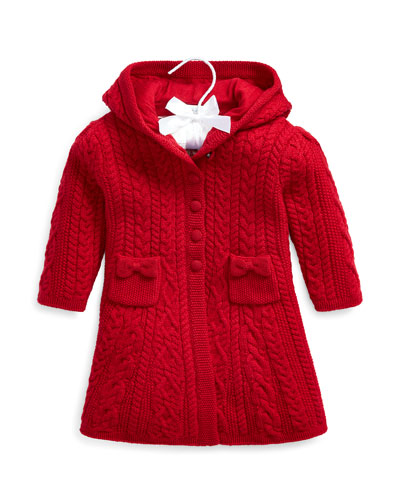 Girl's Aran Knit Hooded Cardigan Sweater, Size 9-24 Months