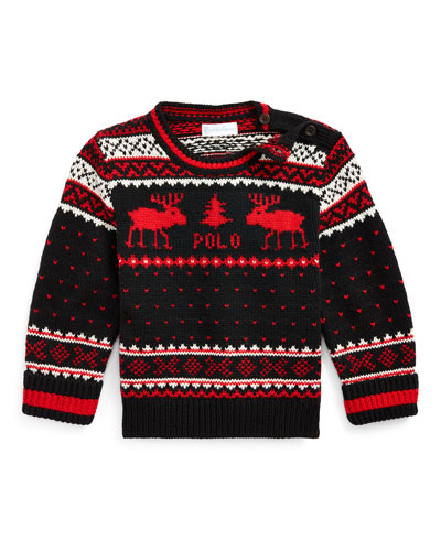 Boy's Reindeer Fair Isle Knit Sweater, Size 6-24 Months