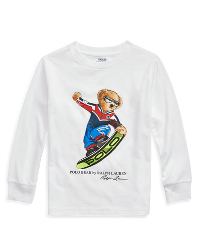 Boy's Snowboard Polo Bear Long-Sleeve Tee, Size 5-7