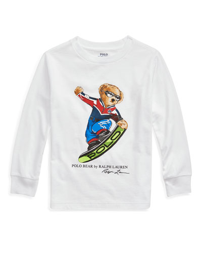Boy's Snowboard Polo Bear Long-Sleeve Tee, Size 2-4