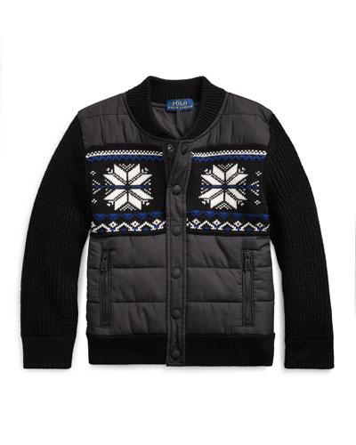 Boy's Merino Wool Hybrid Sweater Jacket, Size 5-7