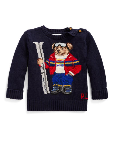 Boy's Skiing Bear Knit Sweater, Size 6-24 Months