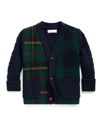 Boy's Mixed Plaid Knit Sweater Cardigan, Size 6-24 Months
