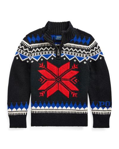 Boy's Fair Isle Knit Quarter-Zip Sweater, Size 5-7
