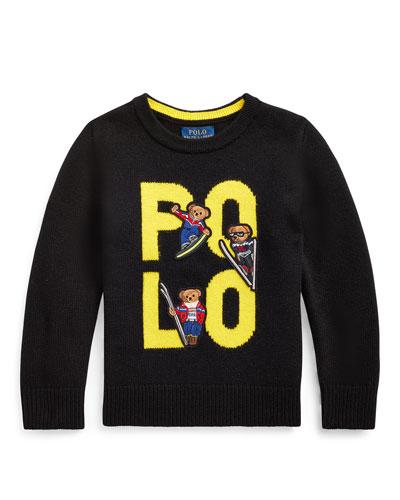 Boy's Merino Wool Logo Sweater, Size 5-7