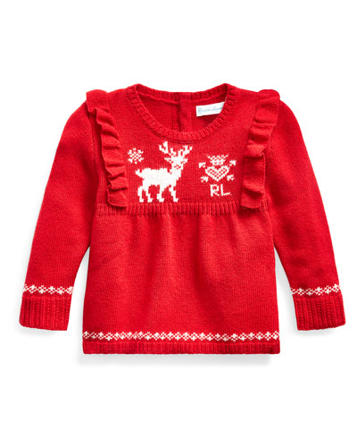 Girl's Reindeer Intarsia Ruffle Trim Sweater, Size 6-24 Months