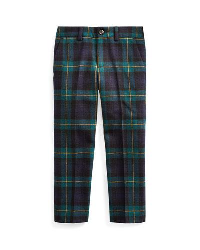Boy's Slim Fit Twill Wool Plaid Pants, Size 5-7