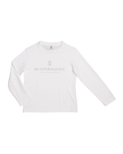 Boy's Be Courageous Long-Sleeve Cotton T-Shirt, Size 8-10