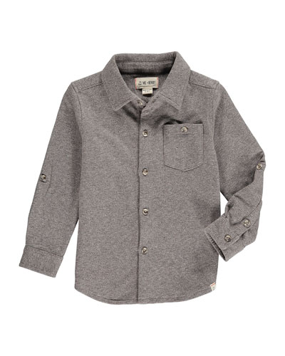 Boy's Heathered Jersey Long-Sleeve Shirt w/ Children's Book, Size 2T-10