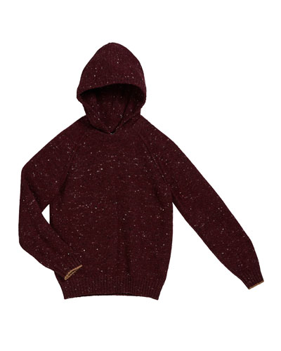 Boy's Speckled Tweed Hooded Sweater, Size 8-10