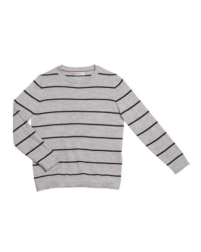 Boy's Striped Fine Gauge Wool/Cashmere Pullover Sweater, Size 4-6