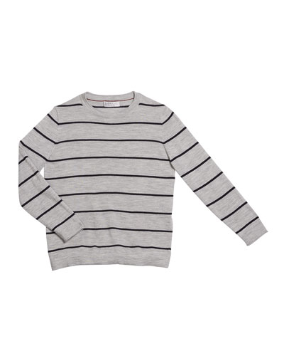 Boy's Striped Fine Gauge Wool/Cashmere Pullover Sweater, Size 8-10