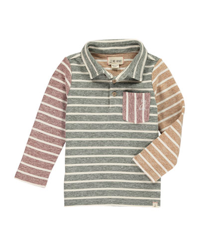 Colorblock Striped Long-Sleeve Polo w/ Children's Book, Size 2T-10