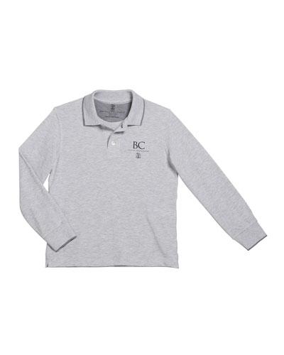 Boy's Long-Sleeve Polo Shirt w/ Logo, Size 12