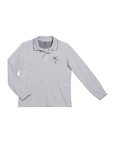 Boy's Long-Sleeve Polo Shirt with Logo Detail, Size 8-10